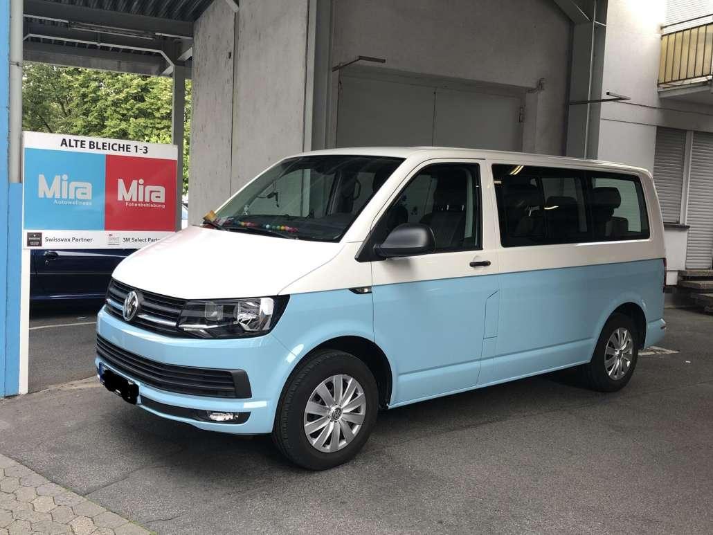 VW T6 zweifarbig Autofolie himmelblau (2)