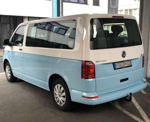 VW T6 Carwrap zweifarbig Autofolie himmelblau
